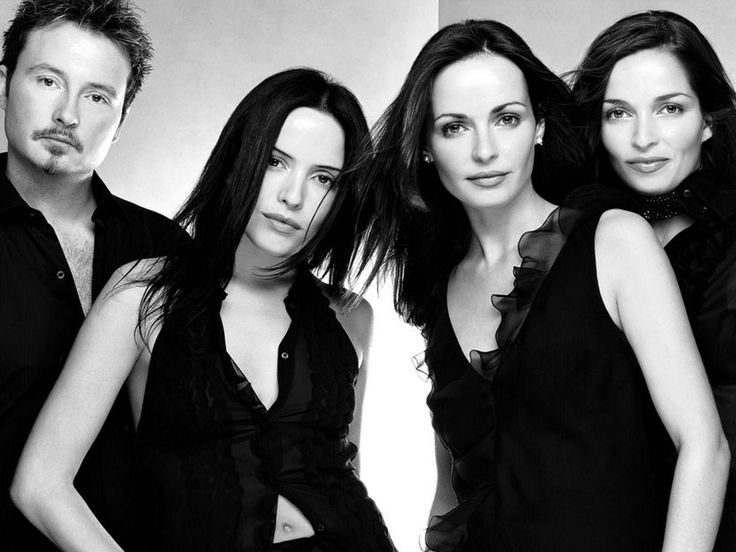 The Corrs,  Celtic folk rock band from Dundalk, Ireland. The group consists of the Corr siblings: Andrea (lead vocals, tin whistle); Sharon (violin, vocals); Caroline (drums, piano, bodhrán, vocals); and Jim (guitar, piano, vocals).