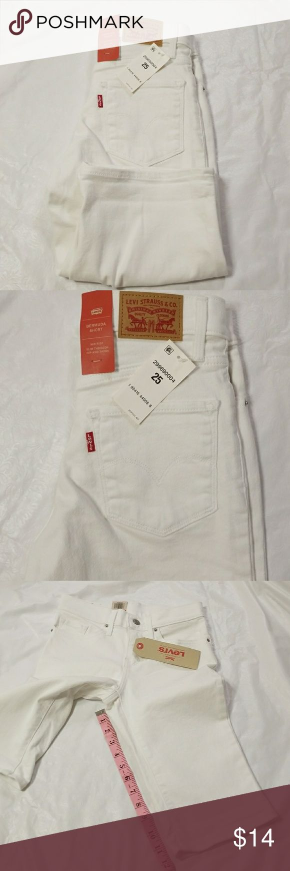 Levi Bermuda white jean short Brand new with tag  Mid rise Slim through hip and thigh  97% cotton 3% elastane   Machine wash cold Levi's Shorts Bermudas