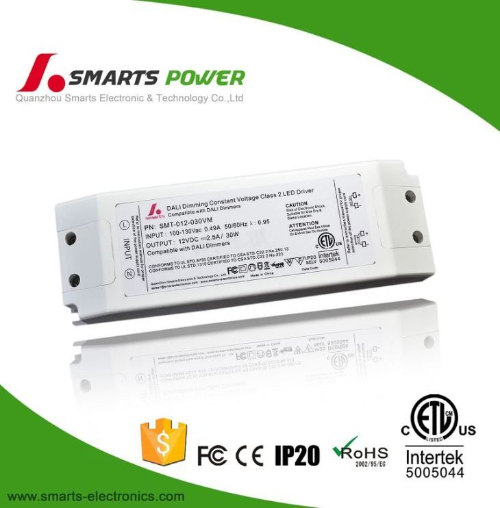 China No Flicker 12v 30w Constant Voltage Led Dali Dimming Power Supply For Led Strip Manufacturers And Suppliers Factory Price Smarts Power
