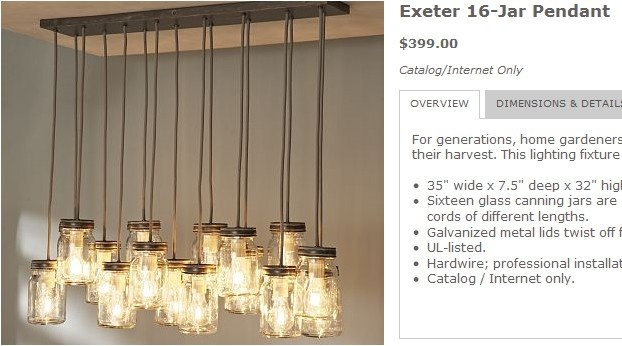 Exeter 16 Jar Pendant Pottery Barn Mason Jar Chandelier