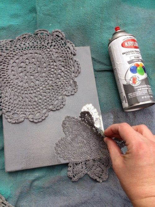 DIY Spray Painted Doily Canvas