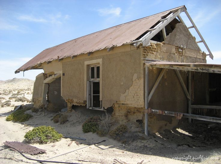 Cottage in the ghost town of Pomona in Namibia: