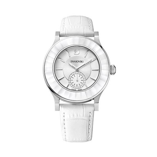 Swarovski Octea Classica White Watch (€420) ❤ liked on Polyvore featuring jewelry, watches, bracelets, bracelet watches, crocodile bracelet, structure watches, stainless steel bracelet and stainless steel watches