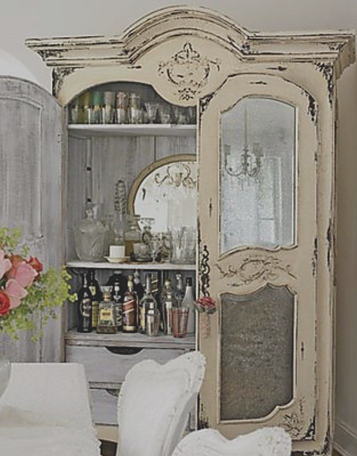 An Old China Cabinet becomes a ...Shabby Chic Bar OR any style Bar of your Choice.... Cheers !  ( LARGE PHOTO ): Dining Rooms, Wet Bar, Idea, Shabby Chic, Liquor Cabinets, Cabinets, Home Bar, Homebar, Bar Cabinets