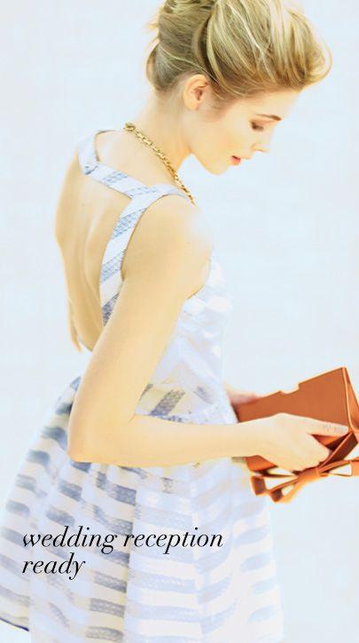 Line & Dot - Jacquard Striped Chevron Fit N Flare Dress
