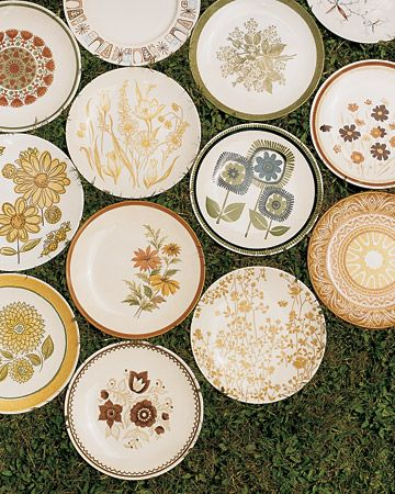 to add whimsy and personality and to save money, find vintage plates at thrift stores for your reception