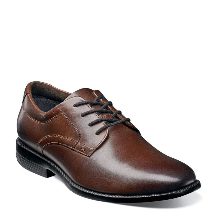 Nunn Bush Men's Devine Medium/Wide Plain Toe Oxford Shoes (Brown Leather)