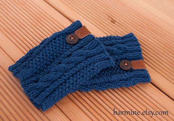 Azul marino arranque pun o con cuero y botón de madera por barmine