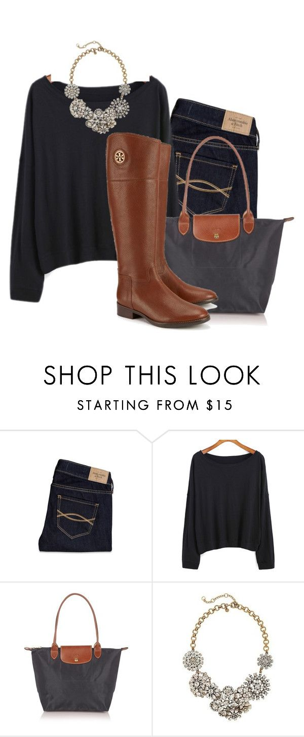 """❤️ Longchamp!"" by camlinker ❤ liked on Polyvore featuring Abercrombie & Fitch, Longchamp, J.Crew and Tory Burch"