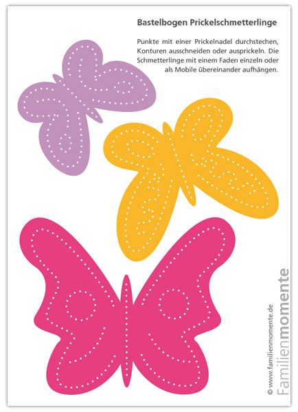 Schmetterlinge-Mobile Pink/Orange/Lila - Bastelbogen zum Prickeln