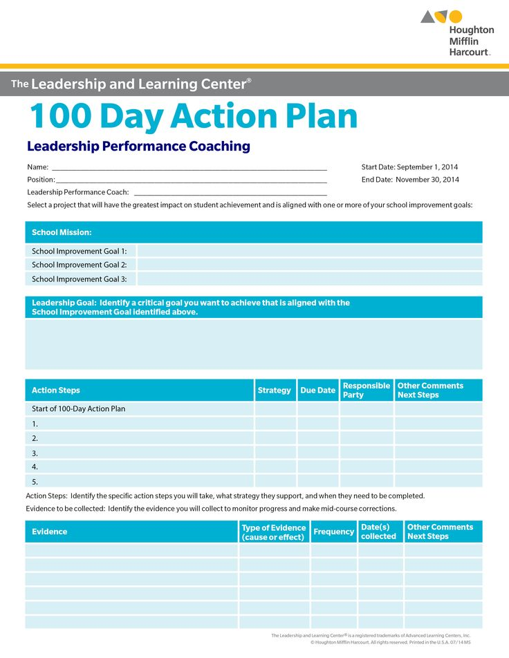 School improvement 100 day action plan select a goal for for 100 day action plan template document example