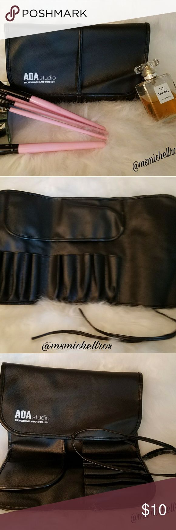 Faux makeup brush carrying case Professional brush case for all your makeup brushes! Prefect size to fit in most bags for the Diva on the go! NWOT AOA studio Makeup Brushes & Tools