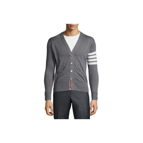 Thom Browne Merino Wool V-Neck Cardigan with Four-Bar Stripe ($950) ❤ liked on Polyvore featuring men's fashion, men's clothing, men's sweaters, medium gray, men's apparel sweaters, mens merino wool sweater, mens v neck sweater, mens striped sweater, mens long sleeve v neck sweater and mens v neck cardigan sweater