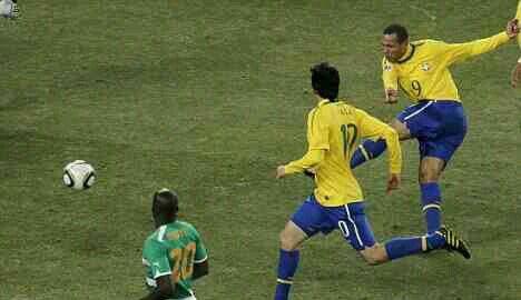 Brazil 3 Ivory Coast 1 in 2010 in Jo 'burg. Luis Fabiano fires Brazil into a first half lead in Group G #WorldCupFinals