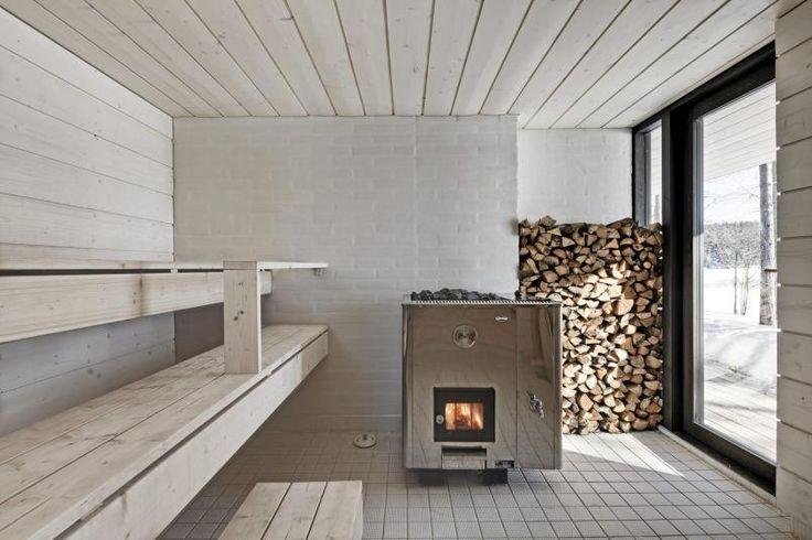 White Wood and Stone Modern Sauna
