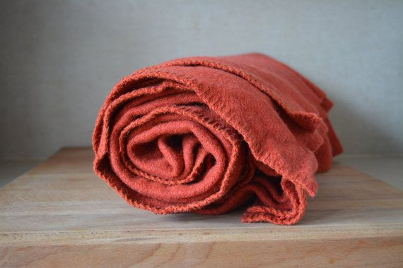 Vintage Light Red Orange Woven Wool Blanket. by BlanketsAndCie