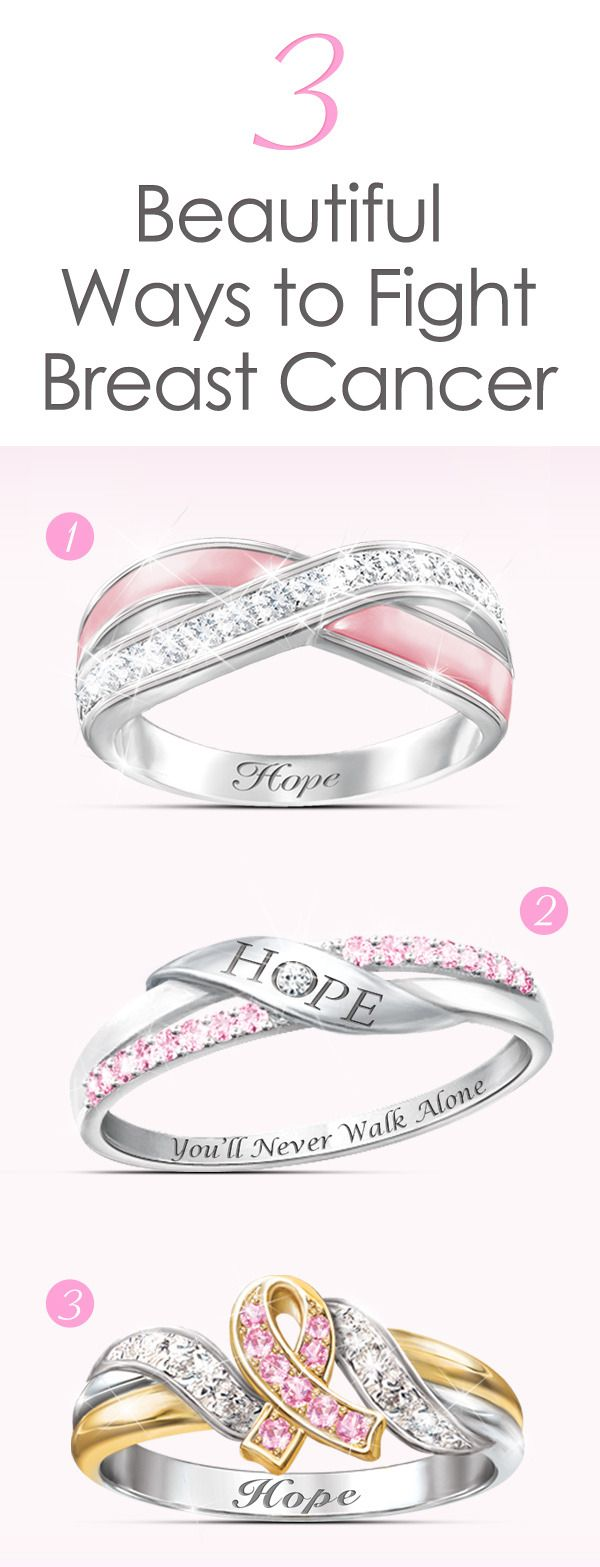 Wear a meaningful symbol of hope when you slip into one of these breast cancer support rings. A portion of the proceeds from sales is donated.