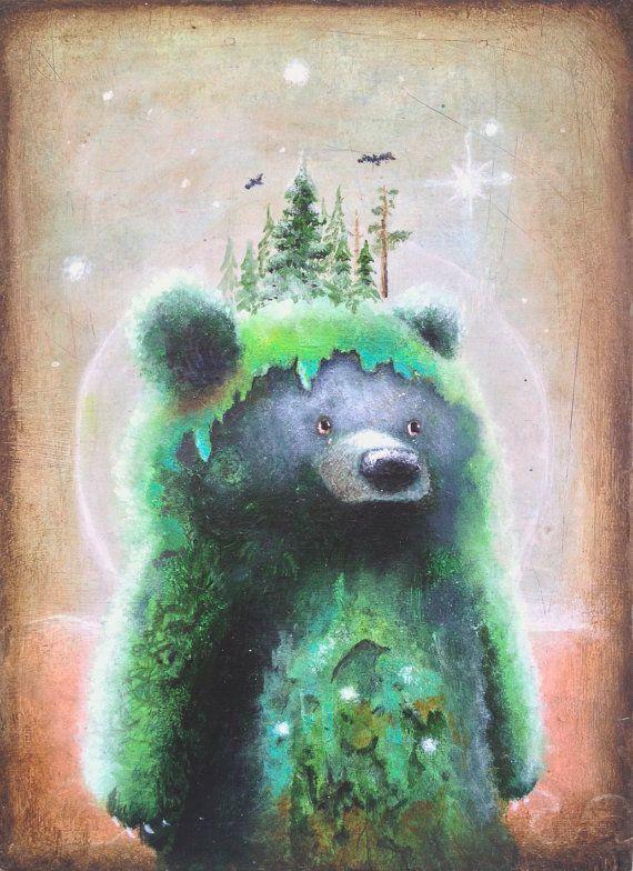 Bear Print  5x7  Bear Art   Surreal Art   Fine by ScottMillsArt, $10.00