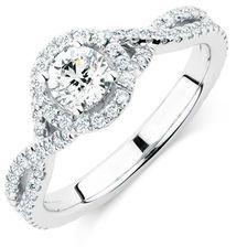 Michael Hill Designer Adagio Engagement Ring with 1.05 Carat TW of Diamonds in 14kt White Gold