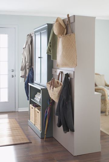 """""""Entry-look"""" of the 3-shelf room divider ~ see how to here: http://www.bhg.com/decorating/storage/projects/how-to-make-a-room-divider/"""