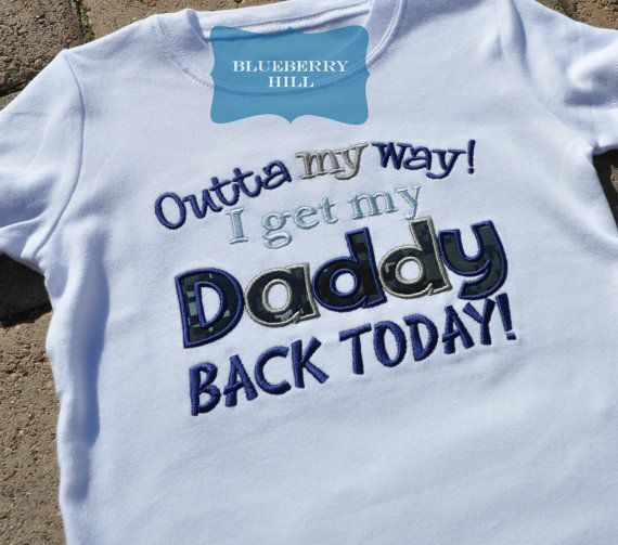Navy Homecoming Shirt - Outta My Way I get My Daddy Back Today $19 by Blueberry Hill