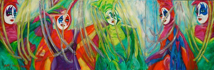 """""""Commedia dell'Arte"""" acrylic on canvas 100 x 300 cm. www.bettyjonker.com"""