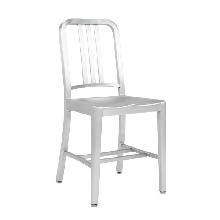NAVY® CHAIR 1006  First built for use on submarines in 1944, the Navy Chair has been in continuous production ever since. With the famous 77 step Process, our craftsmen take soft, recycled aluminum, hand form and weld it- then temper it for strength. Finally, the chair is anodized for a durable finish. We guarantee the Navy Chairs for life.