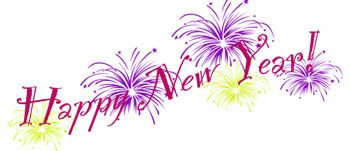 New Year Clip Art Fireworks with word art