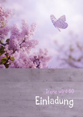 Moderne, Stilvolle Einladungskarte In Violett Tönen Mit Lila Flieder Und  Schmetterling. Nur Texte