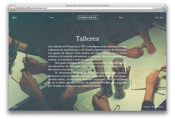 Sobremesa website on Web Design Served