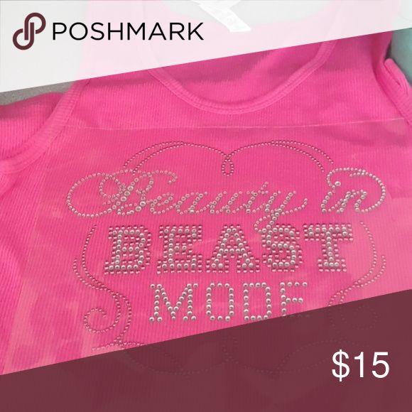 Rhinestone T Shirt Rhinestone t-shirt  Beauty in beast mode Alstyle Tops Tank Tops