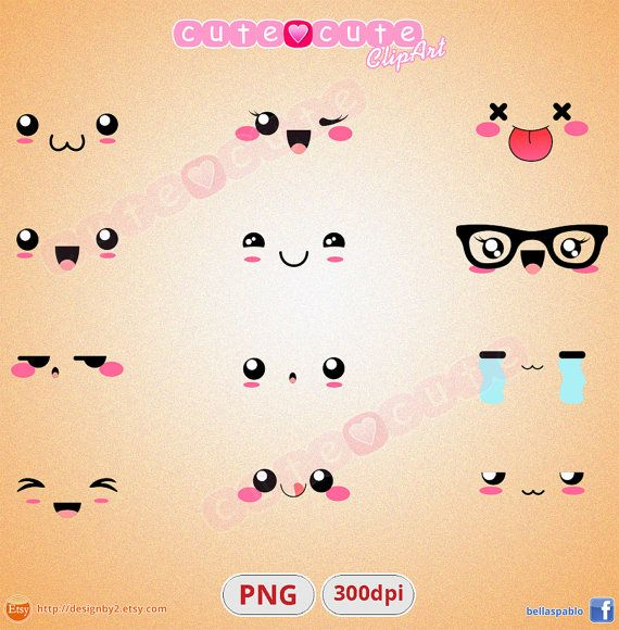 caritas kawaii expresiones clipart digital descargable instantaneo 300dp…