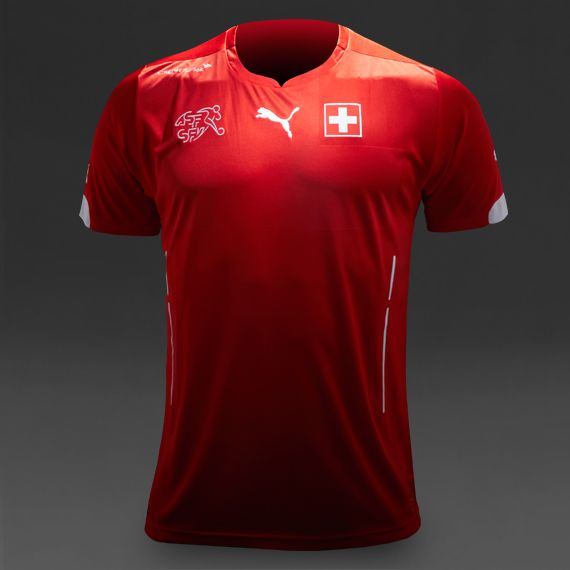 Puma Switzerland 2014 Home Replica SS Shirt - Red/White