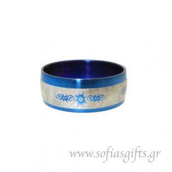 Ανδρικό δαχτυλίδι metal blue ήλιος