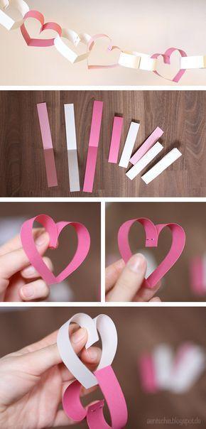 DIY Herzchengirlande für den Valentinstag oder für Hochzeiten von www.aentschi…
