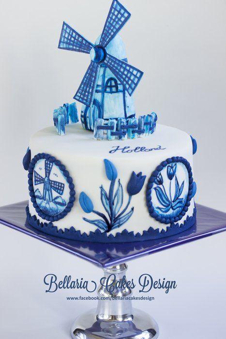 Handpainted Delft blue (delftware) cake. - by Bellaria @ CakesDecor.com - cake decorating website
