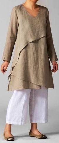 PLUS Clothing - Linen Layering V-neck Tunic