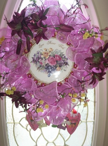 Wreath inspirational shabby chic cottage victorian style for Deco murale shabby chic