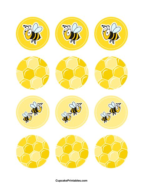 Bumble Bee cupcake toppers. Use the circles for cupcakes, party favor tags, and more. Free printable PDF download at http://cupcakeprintables.com/toppers/bumble-bee-cupcake-toppers/