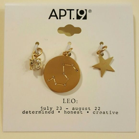 3 piece zodiac charm set LEO This listing is for a 3 piece charm set for the zodiac sign Leo. Birthday's July 23- August 22. Apt. 9 Other