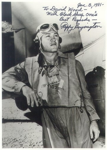 """Gregory """"Pappy"""" Boyington (December 4, 1912 – January 11, 1988) was a United States Marine Corps officer who was an American fighter ace during World War II. For his heroic actions, he was awarded both the Medal of Honor and the Navy Cross. Boyington flew initially with the American Volunteer Group in the Republic of China Air Force during the Second Sino-Japanese War. He later commanded the U.S. Marine Corps squadron, VMF-214 (""""The Black Sheep Squadron"""") during World War II. Boyington…"""