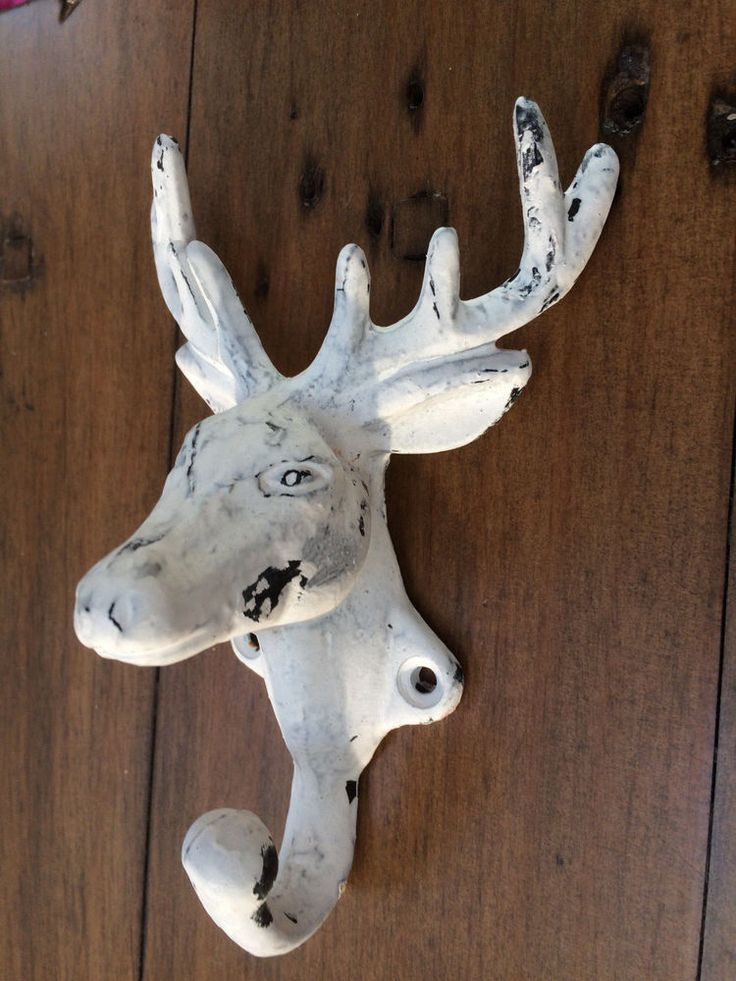 stag head coat hook wall mounted deer antler cast iron vintage white