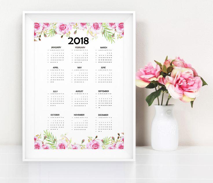 Quiero compartir lo último que he añadido a mi tienda de #etsy: 2018 One Page Floral Calendar - Printable Calendar, One Page Calendar, At a glance calendar, Annual Calendar, Watercolor Calendar printable