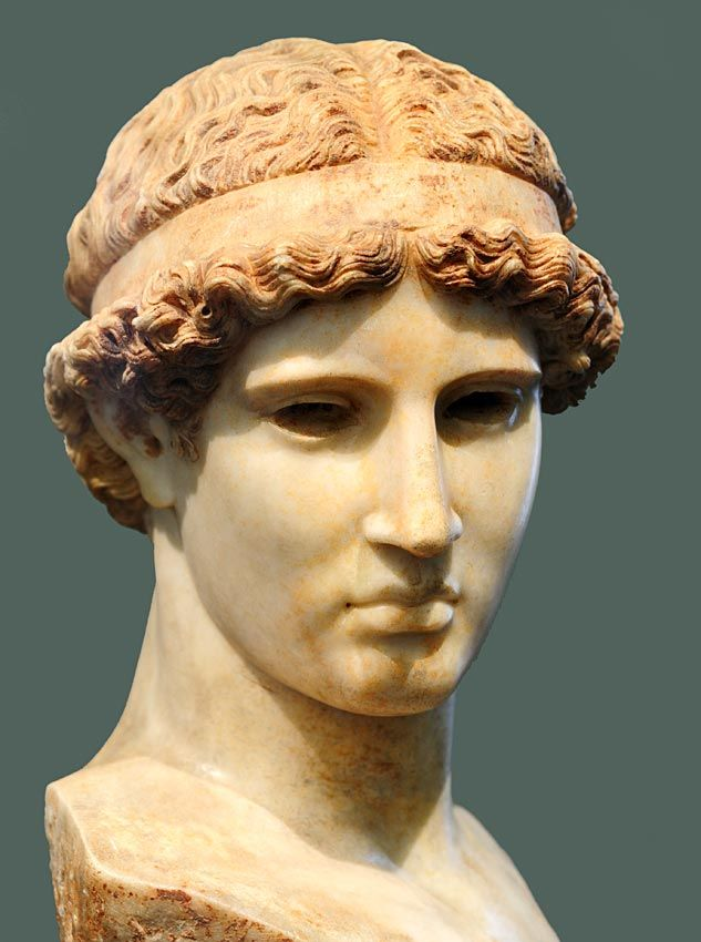 "Minerva (Athena) (""Palagi""), head of Roman statue (marble), copy after Greek original, 1st century BC - 1st century AD, (Museo Civico Archeologico, Bologna)."