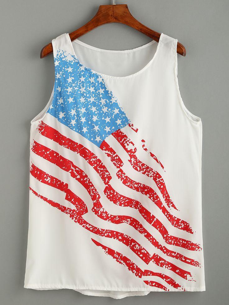 Top bandera americana gasa-Sheinside