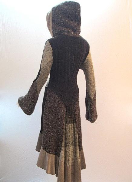 Recycled Sweater Coat in Beige, Taupe & Dark Brown. $418.00, via Etsy.