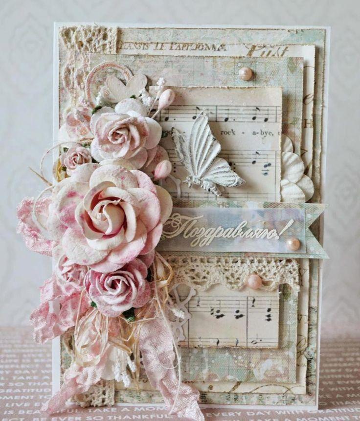открытка в стиле шебби шик мастер класс с пошаговым фото шатенка белом платье