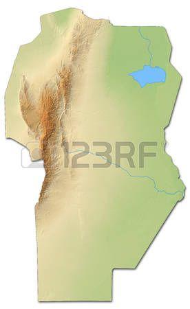 mapa en relieve de Córdoba, una provincia de Argentina, con relieves y sombreados.