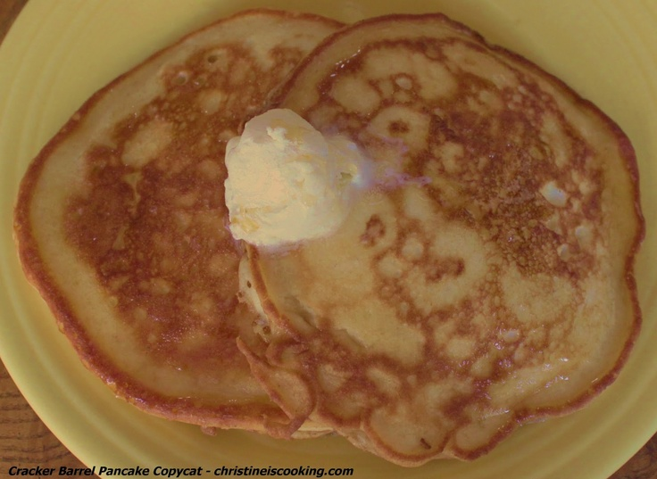 Cracker Barrel Pancakes...of all of the scratch pancake recipes I have tried this has been my family's favorite.