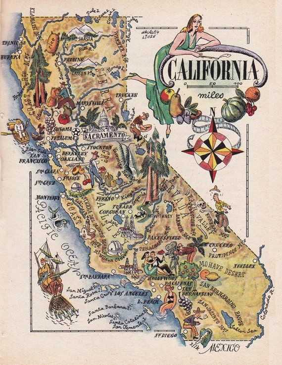 California Map Download.Map Of California From 1946 Vintage Printable Digital Download No